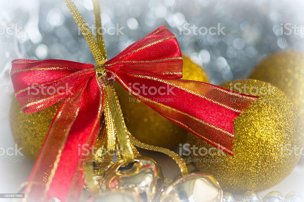 Christmas decorations close up on shiny background stock photo