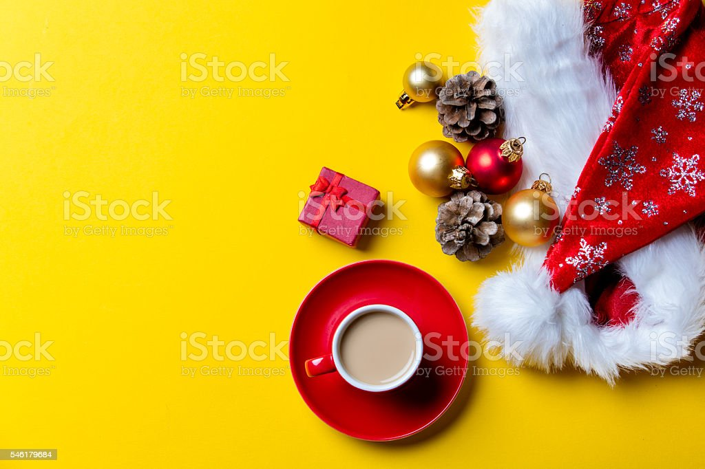 christmas decorations, gift and cup of coffee stock photo