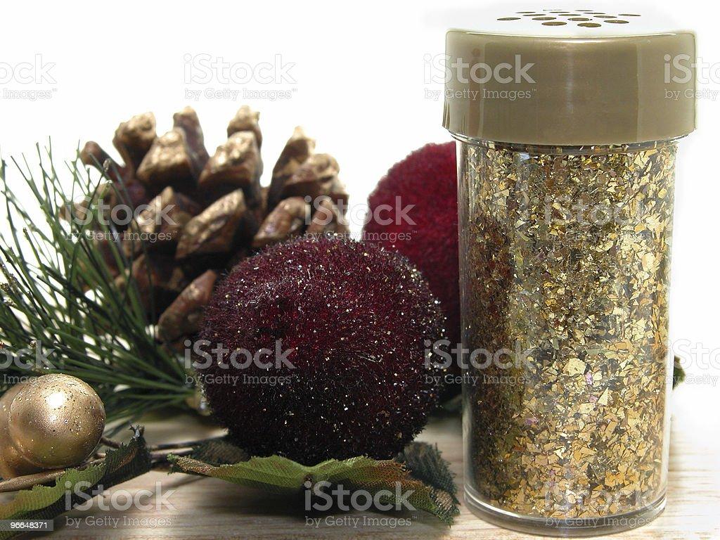 Christmas Decorations & Glitter Bottle royalty-free stock photo
