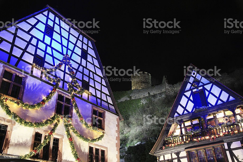 Christmas decorations in Alsace stock photo
