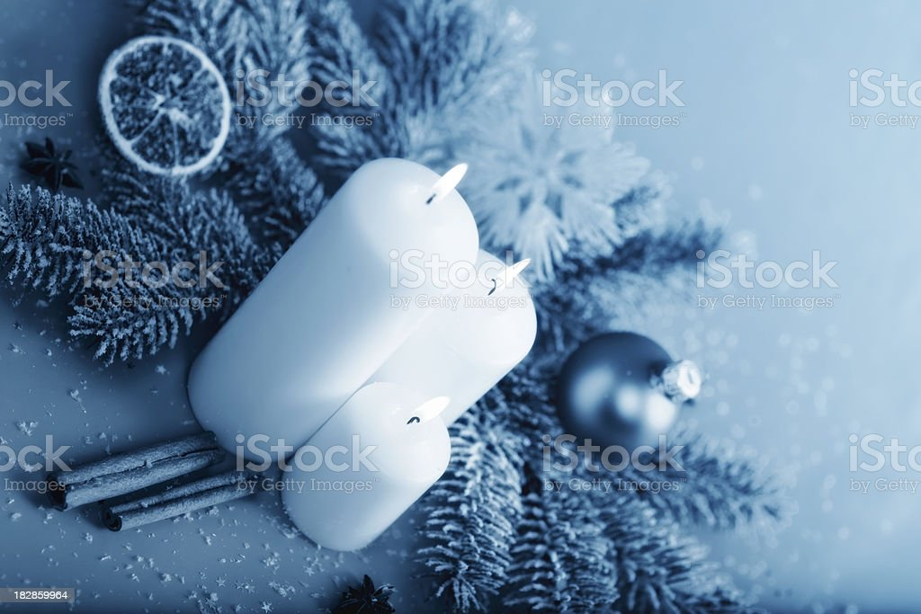 Christmas Decorations in Blue royalty-free stock photo