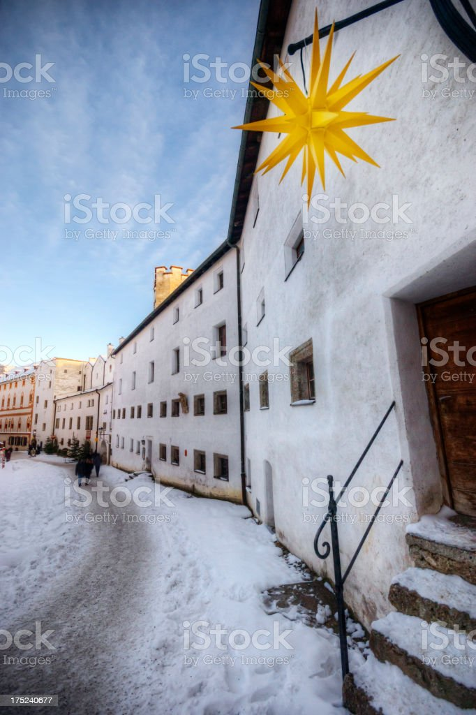 Christmas Decorations in Historic Europe royalty-free stock photo