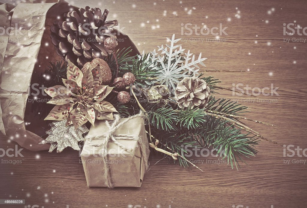 Christmas decorations in package wrapping paper stock photo