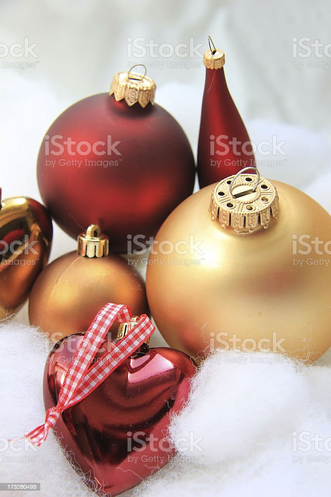 Christmas decorations in red and gold royalty-free stock photo