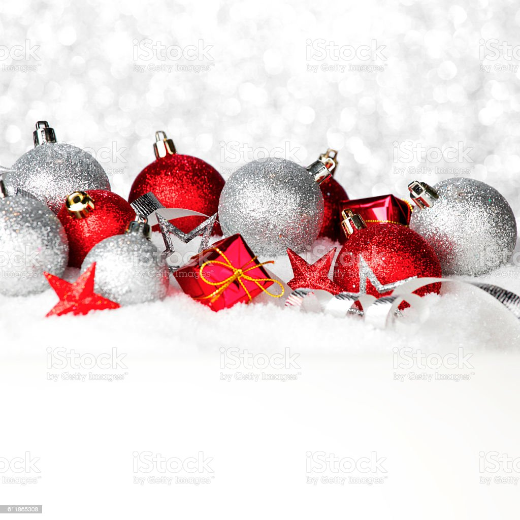 Christmas decorations in snow stock photo