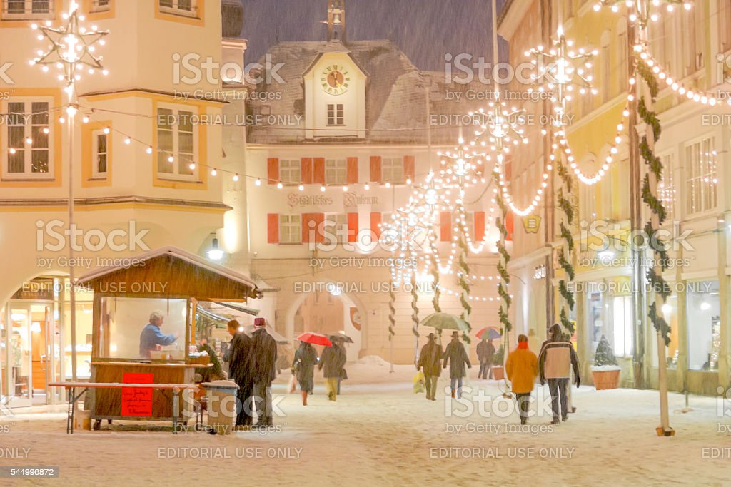 Christmas Decorations in the Alpine Town of Rosenheim, Germany II stock photo