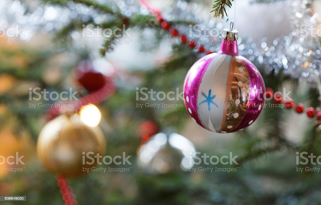 Christmas decorations in the Christmas tree stock photo
