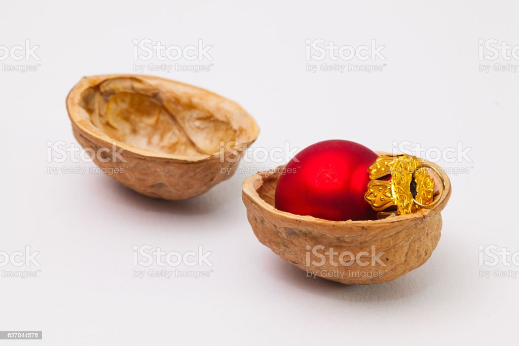 Christmas decorations in the shell of walnuts. stock photo