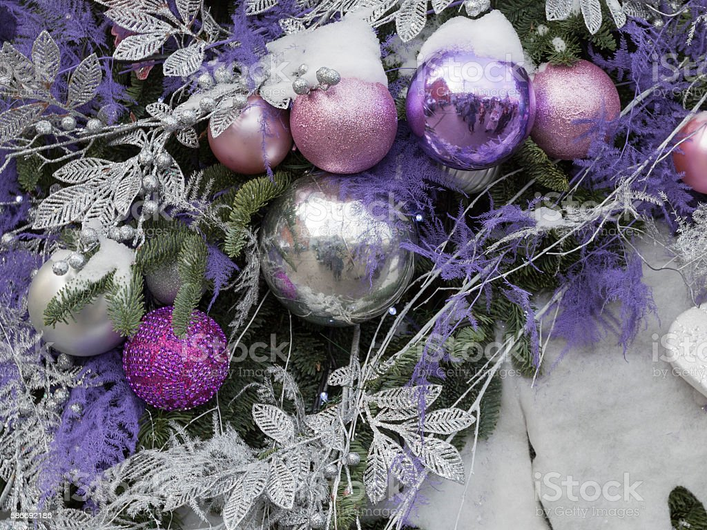Christmas decorations in the street stock photo