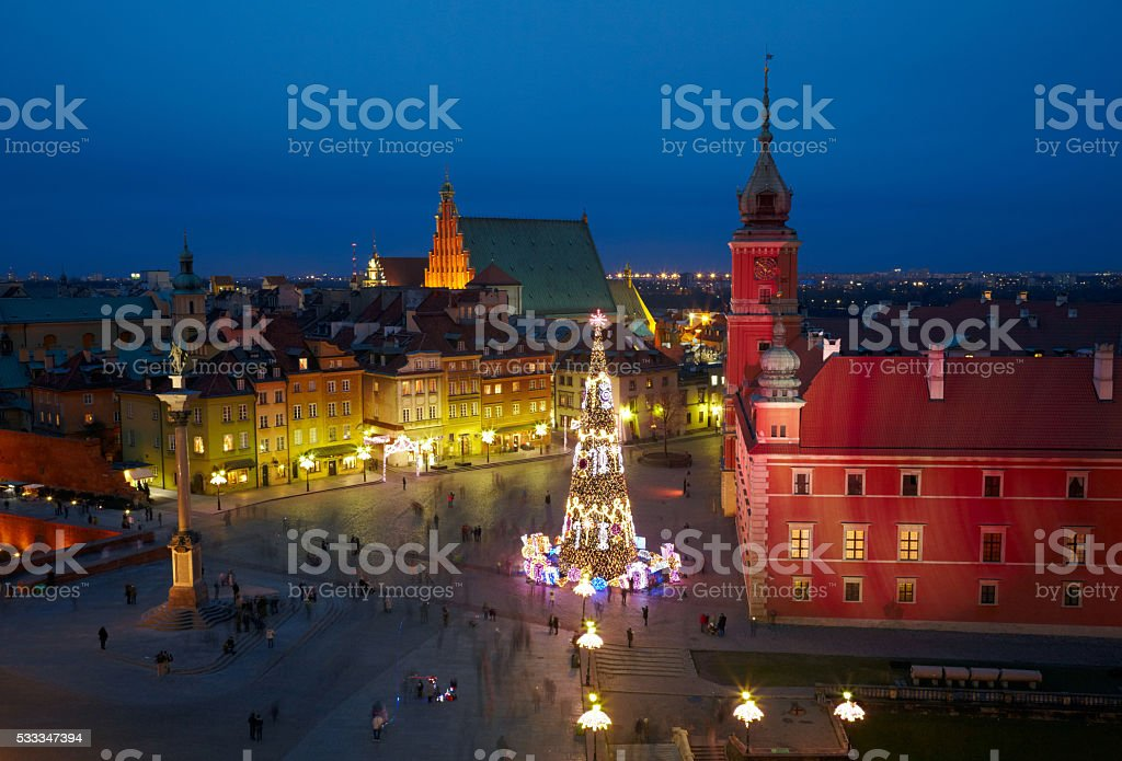 Christmas decorations in Warsaw, Poland stock photo