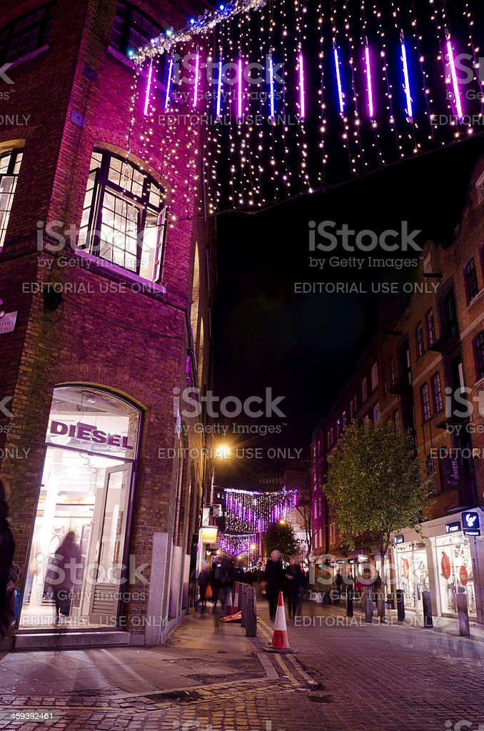 Christmas decorations, Neal Street, Covent Garden, London royalty-free stock photo