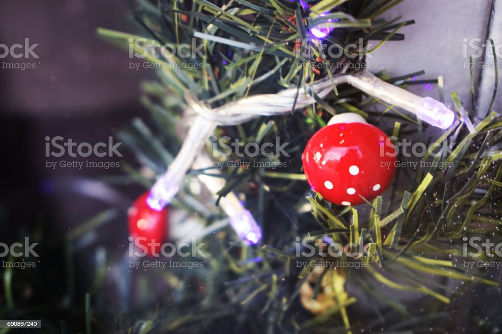 Christmas decorations of shop windows. stock photo