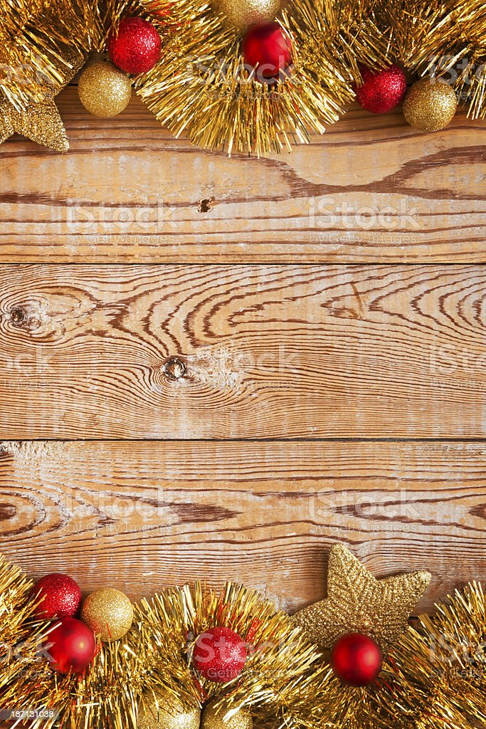 Christmas decorations on a rustic background with copy space royalty-free stock photo