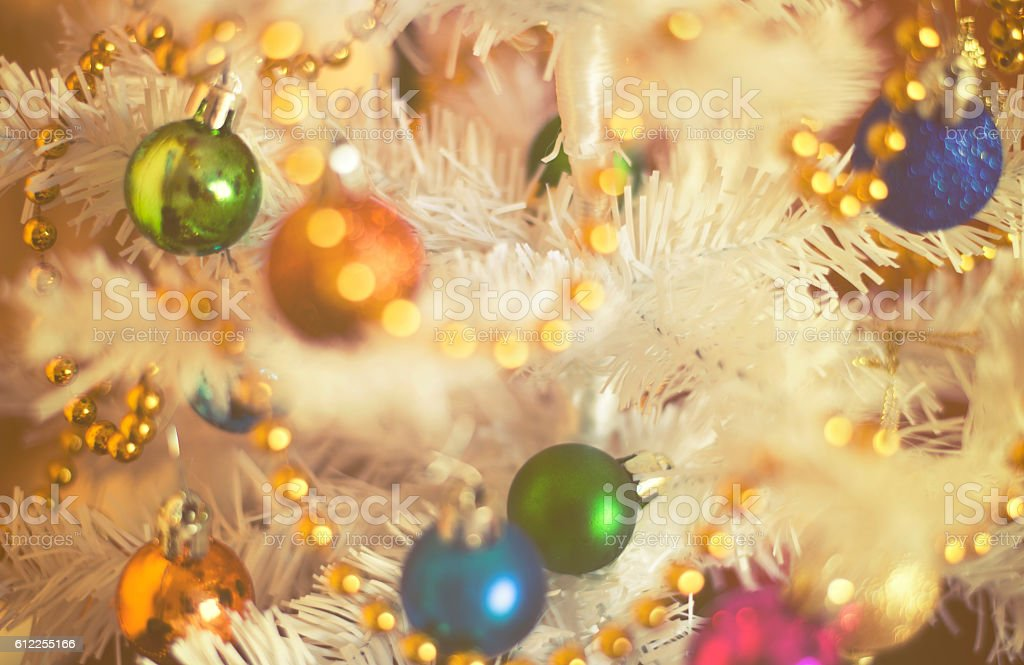 Christmas decorations on artificial fir, xmass background vintage effect stock photo