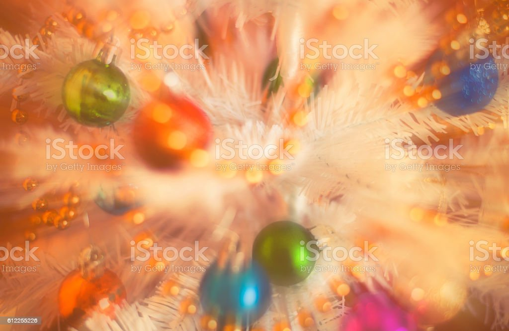 Christmas decorations on artificial fir, xmass blur background vintage effect stock photo