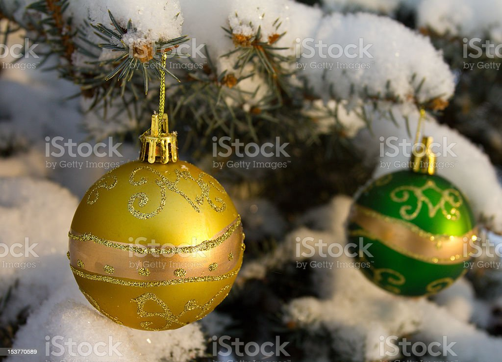 christmas decorations on fir branch royalty-free stock photo