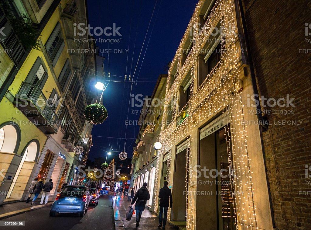 christmas decorations on milan street italy royalty free stock photo