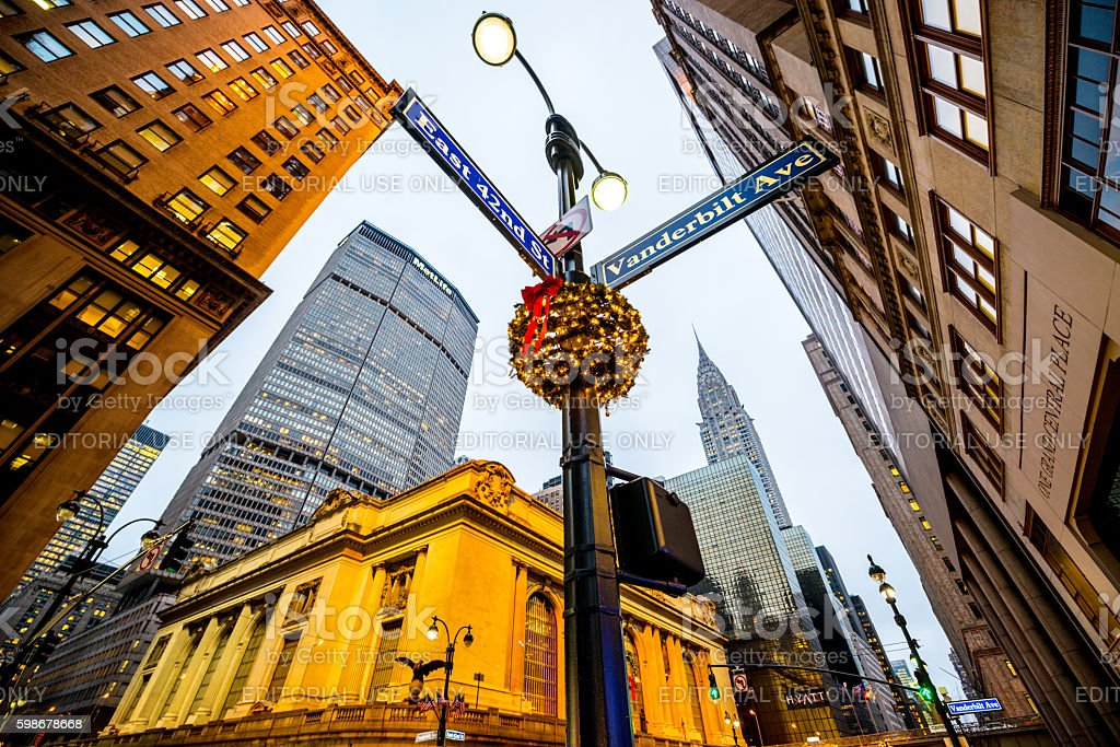 Christmas decorations on New York streets, USA stock photo