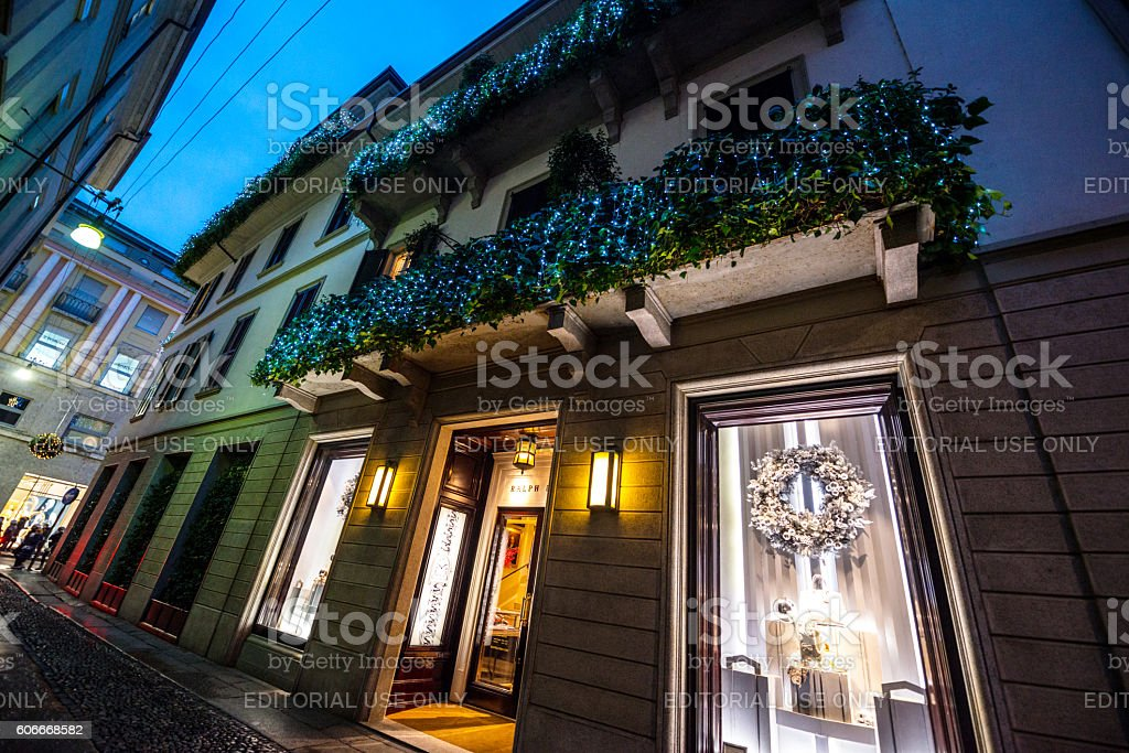 Christmas decorations on Ralph Lauren store, Milan stock photo