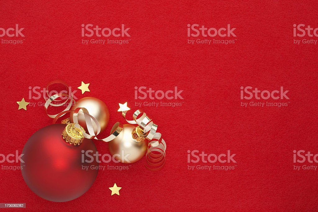 Christmas Decorations on Red royalty-free stock photo
