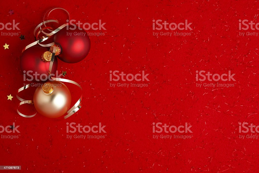 Christmas Decorations on Red stock photo