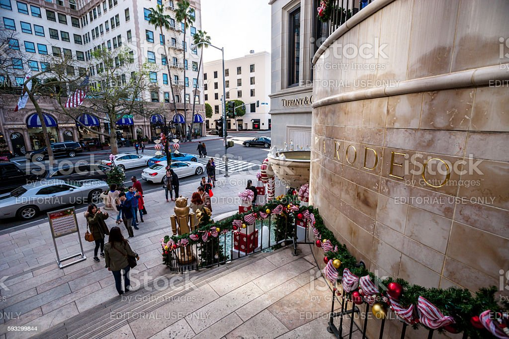 Christmas decorations on Rodeo Drive, CA, USA stock photo