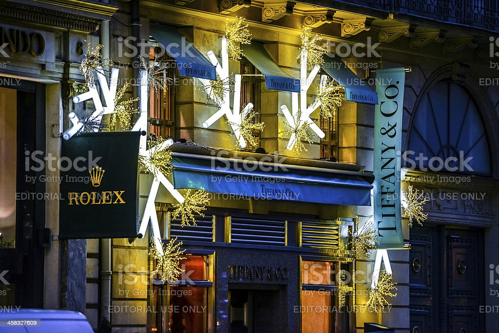 Christmas Decorations on Rolex and Tiffany & Co. shops, Paris royalty-free stock photo