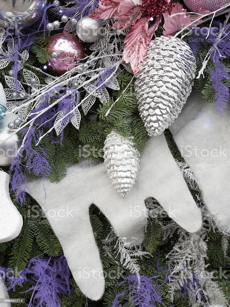 Christmas decorations on the Christmas market stock photo