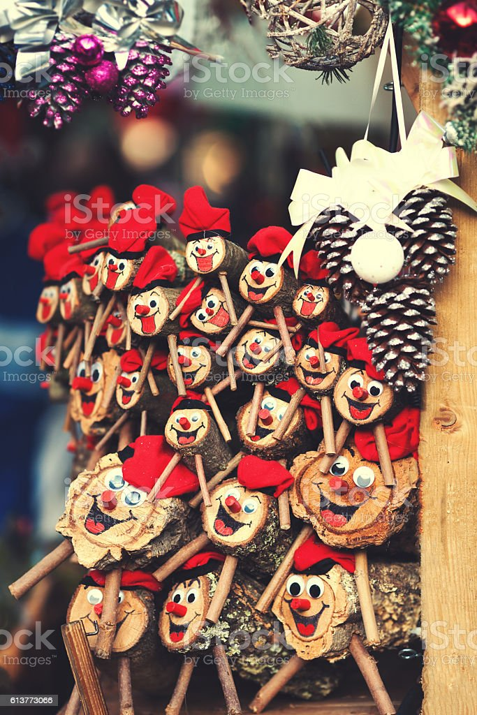 Christmas decorations on the market in Europe Tio de Nada stock photo