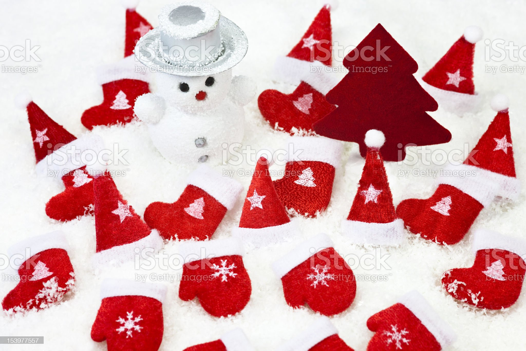 Christmas Decorations on the Snow royalty-free stock photo