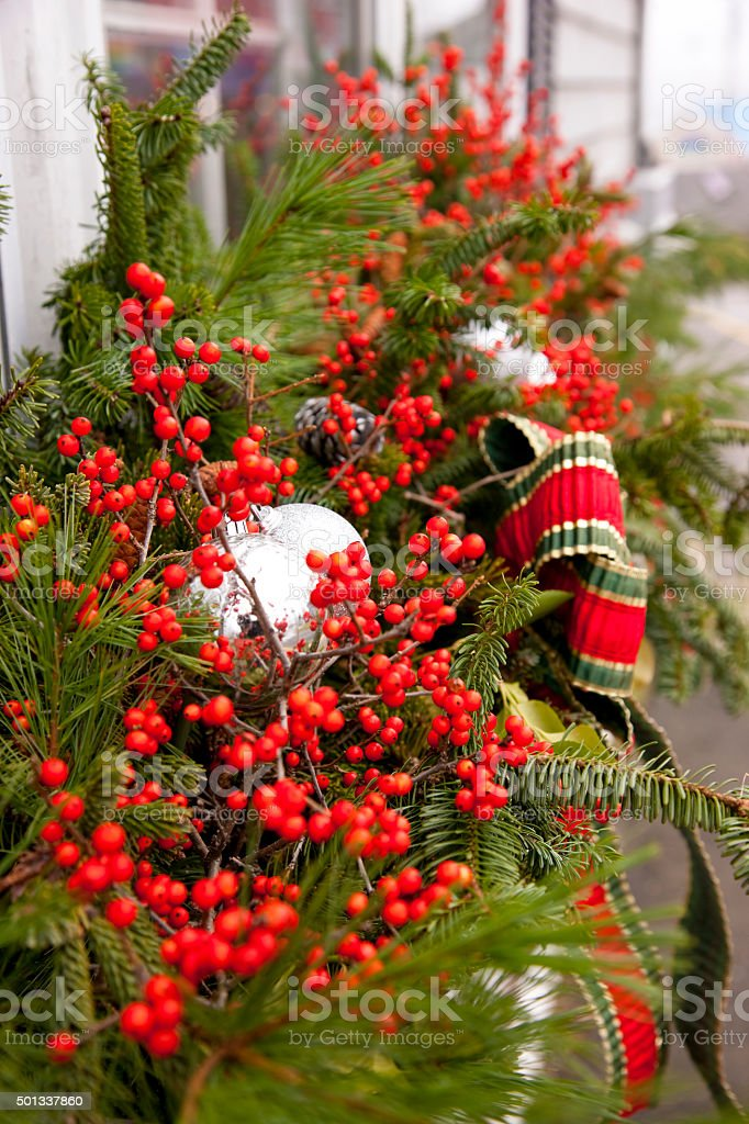 Christmas Decorations on the street of Boothbay Harbor, Maine stock photo