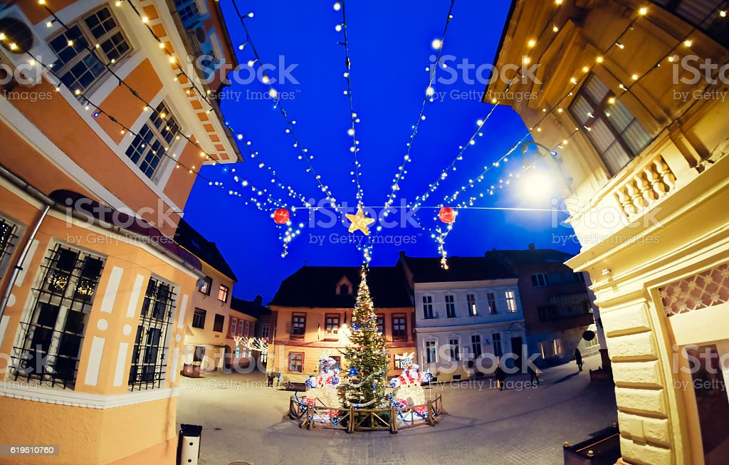Christmas decorations on the streets of Brasov, Romania stock photo
