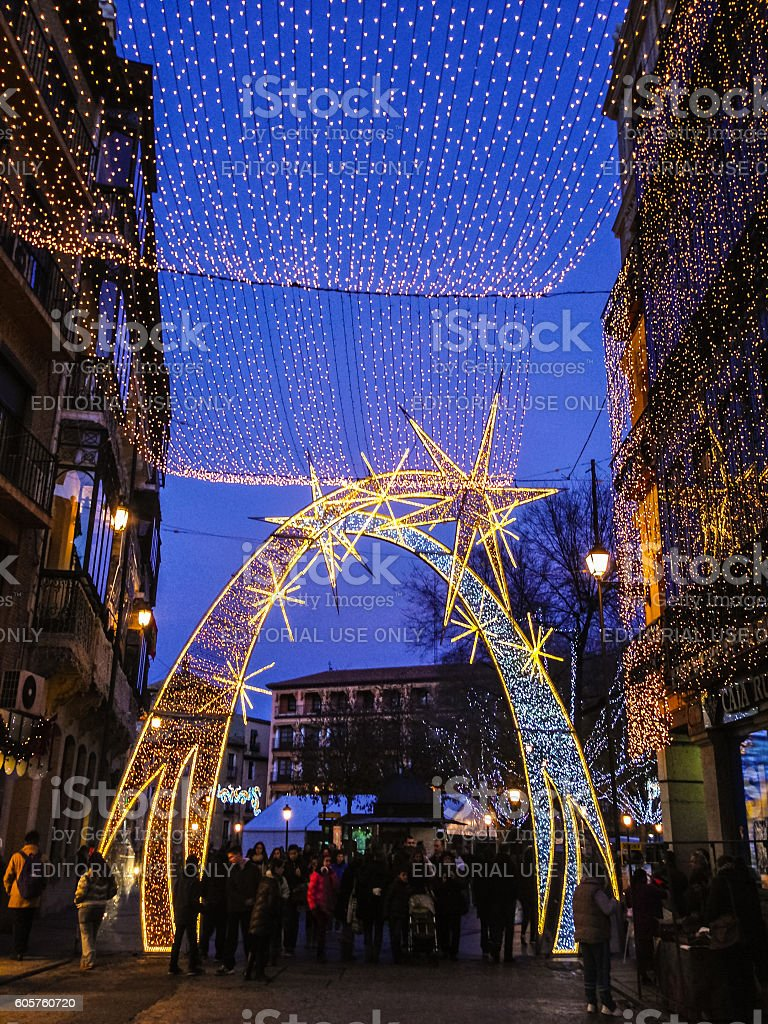 Christmas decorations on Toledo street, Spain stock photo