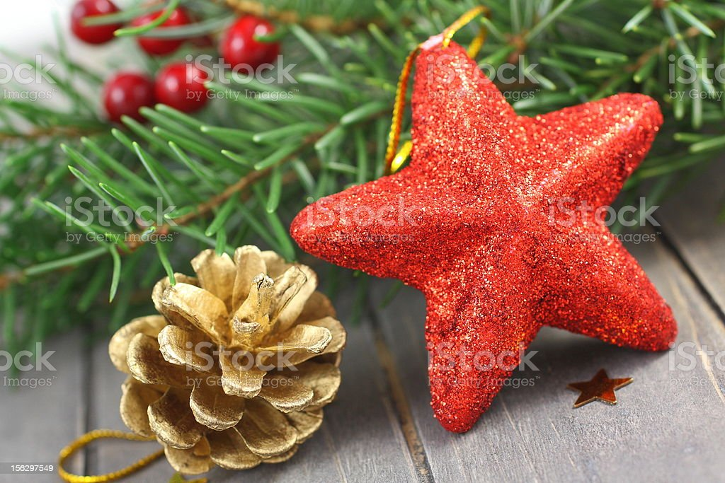 Christmas decorations on wooden background royalty-free stock photo