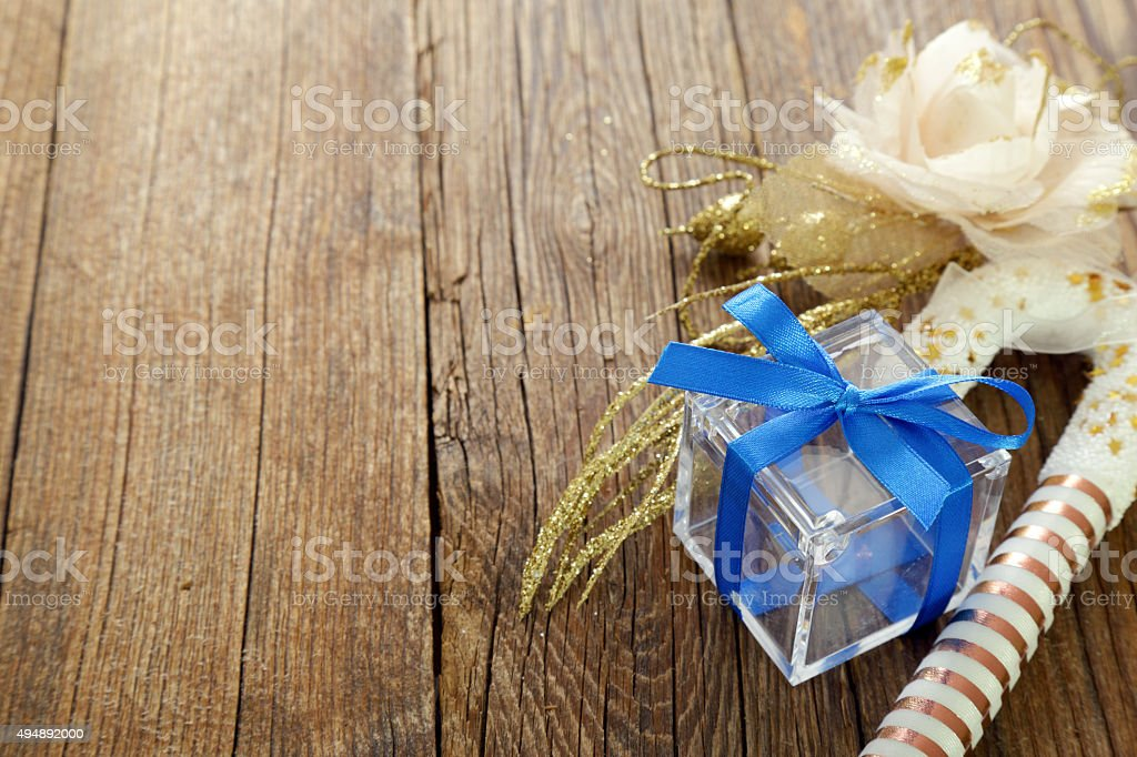 Christmas decorations on wooden table stock photo