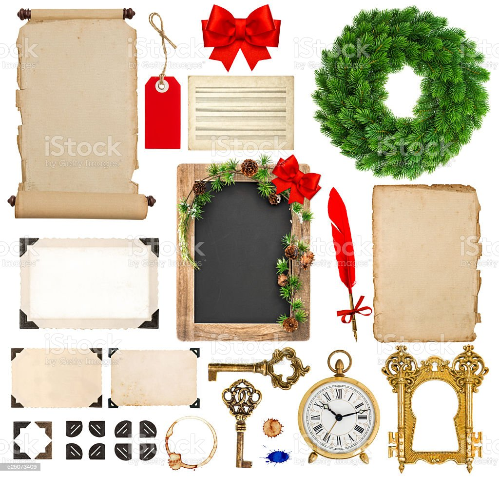 christmas decorations, ornaments and gifts. paper and frames iso stock photo