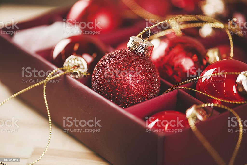 Christmas decorations red baubles royalty-free stock photo