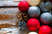Christmas decorations. Top view. Copyspace
