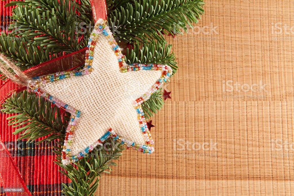 Christmas decorations with branch of spruce stock photo