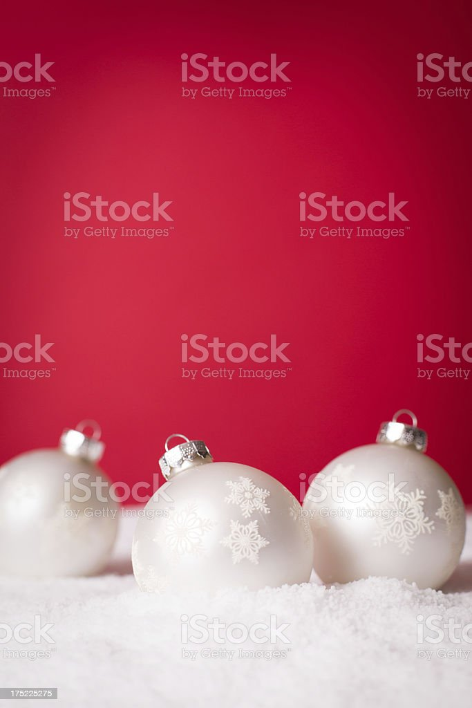 Christmas Decorations with Red Background and Copy Space royalty-free stock photo