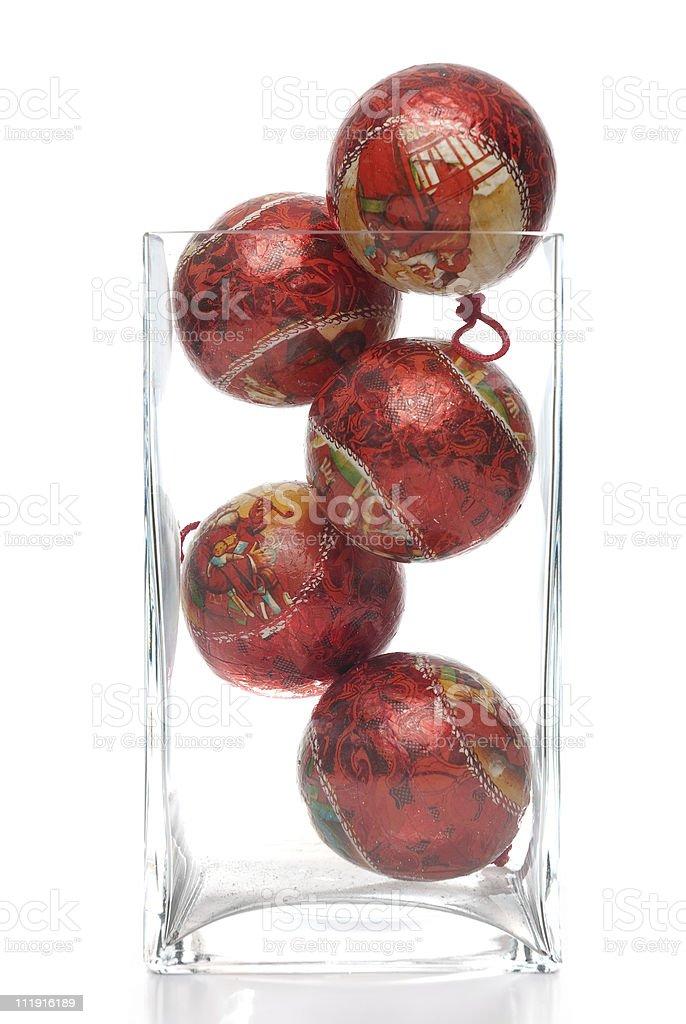 Christmas decorative balls in glass jar stock photo