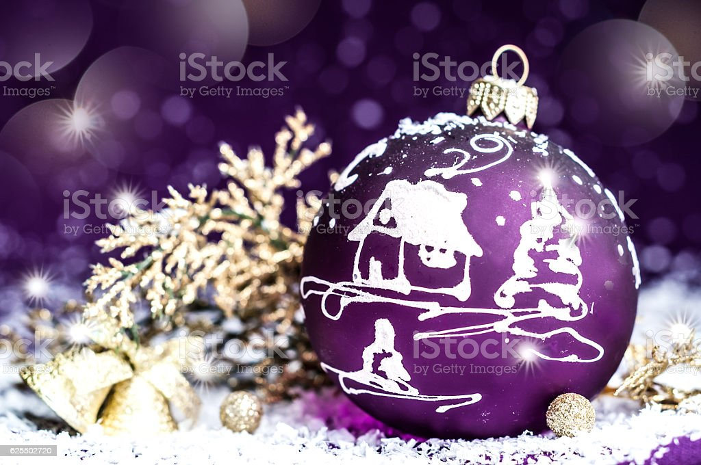 Christmas decorative bright violet toy with a pattern stock photo