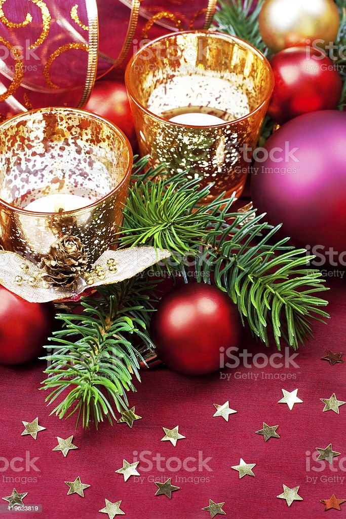 Christmas decorative candles and baubles. stock photo