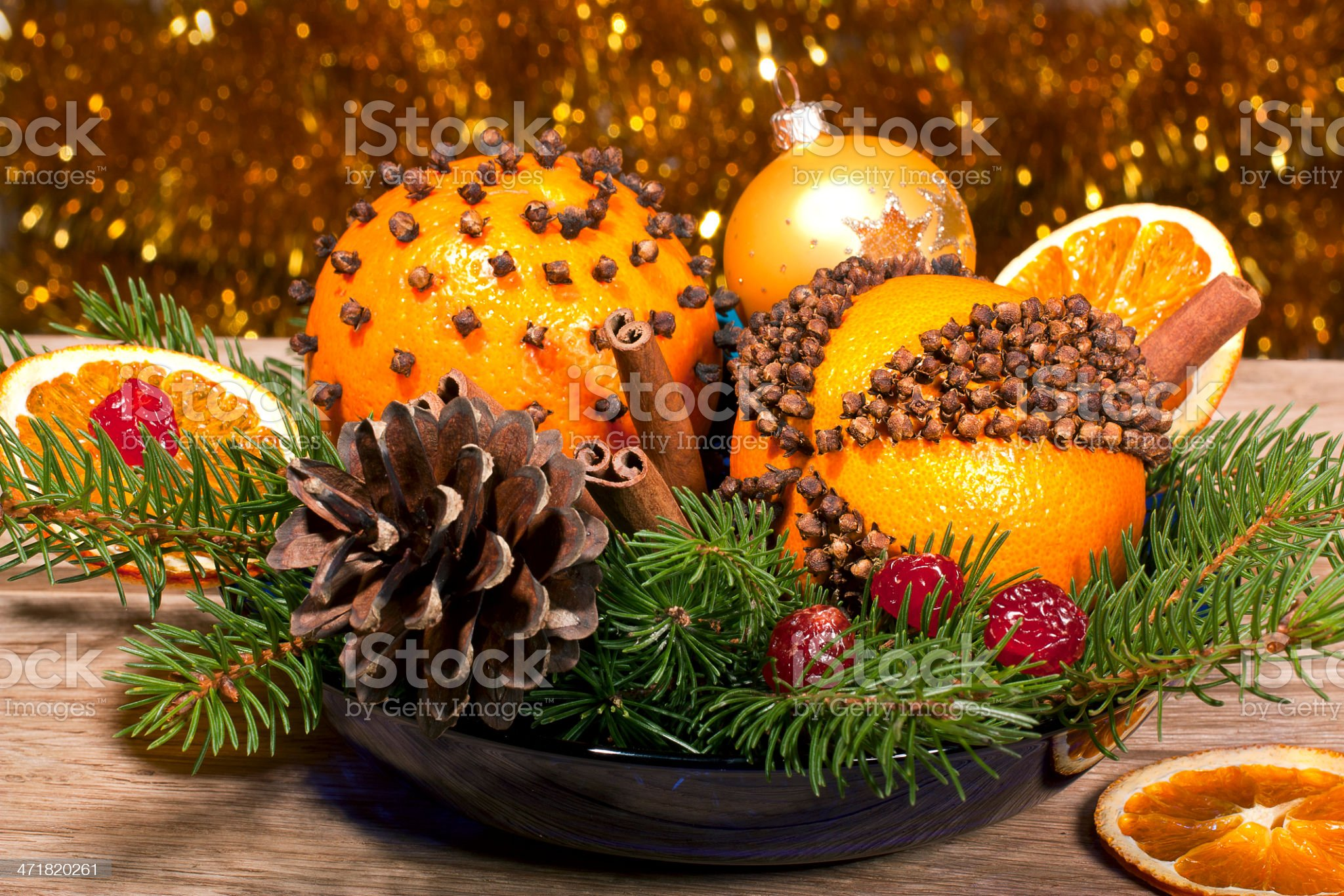 Christmas decorative composition with orange pomanders close ap royalty-free stock photo