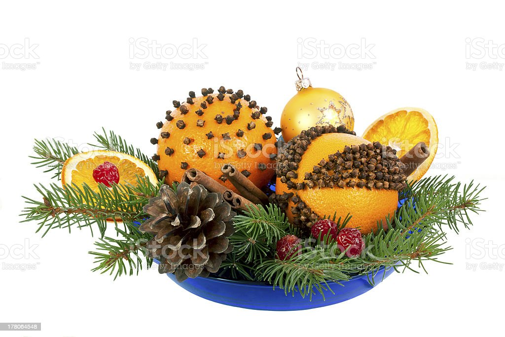 Christmas decorative composition with orange pomanders stock photo