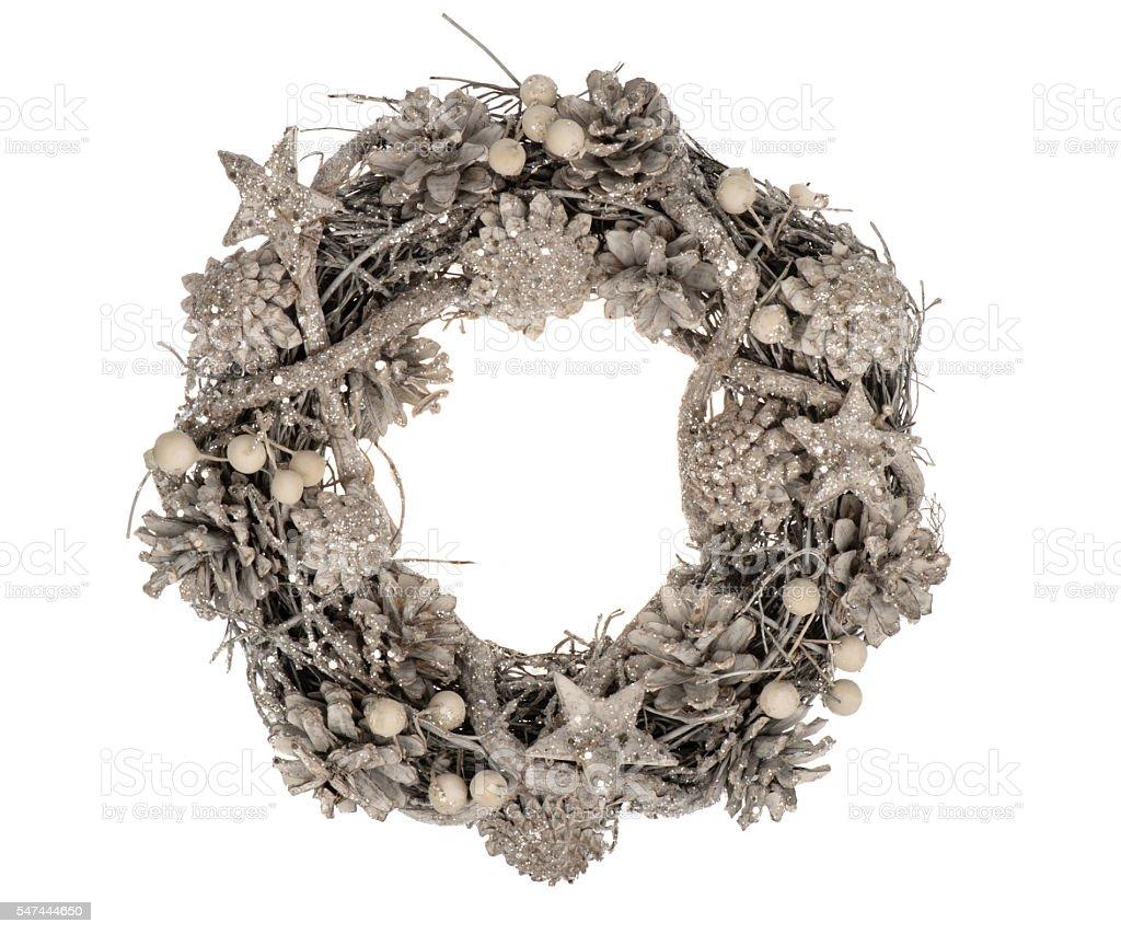 Christmas decorative wreath isolated. stock photo