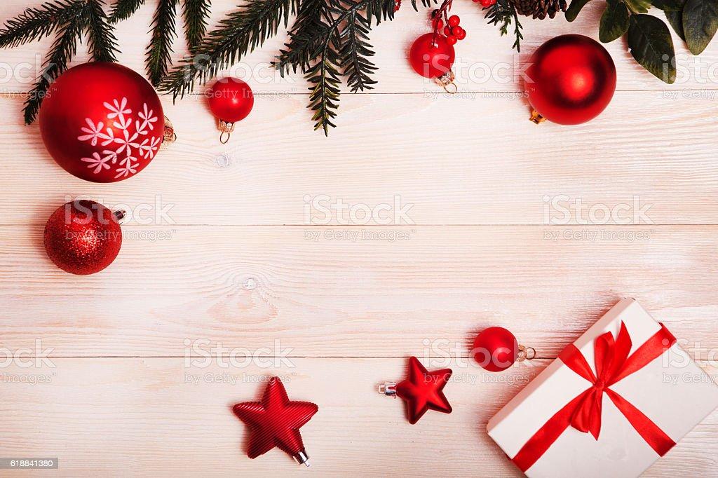 Christmas decoron the wooden background. stock photo