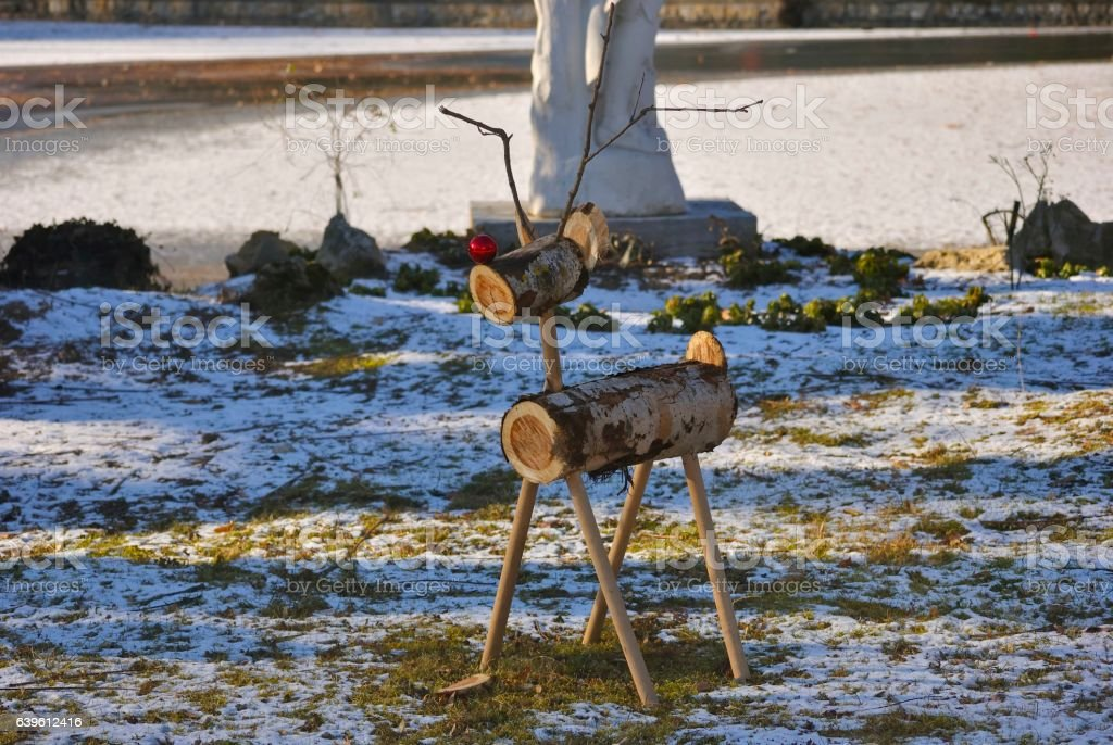 Christmas deer made from wooden parts stock photo