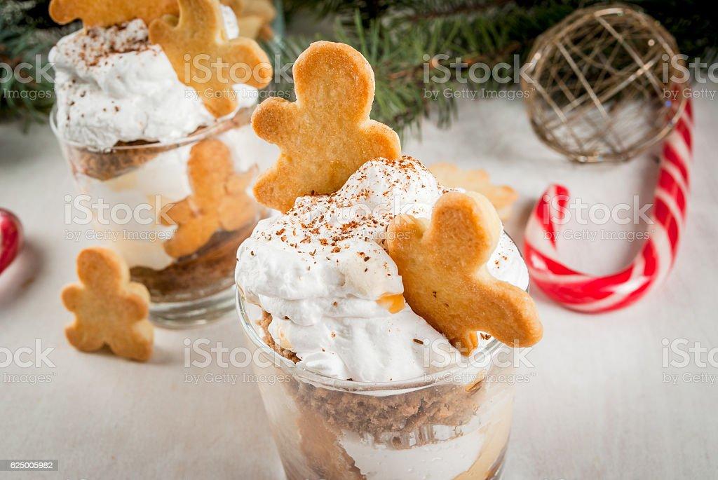 Christmas dessert, funny Ginger Trifle stock photo