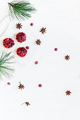 Christmas dessert of cranberries, anise star. pine branches. Flat lay